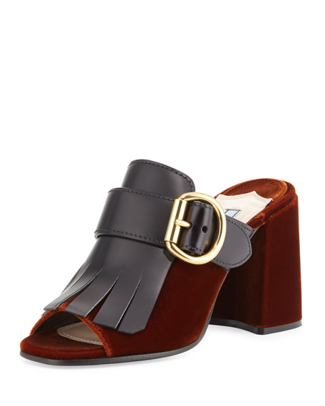 Prada Leather Mule discount hot sale cheap affordable discount best s7AgGwYL