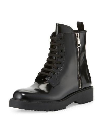 Polished Leather Combat Boot, Black (Nero)