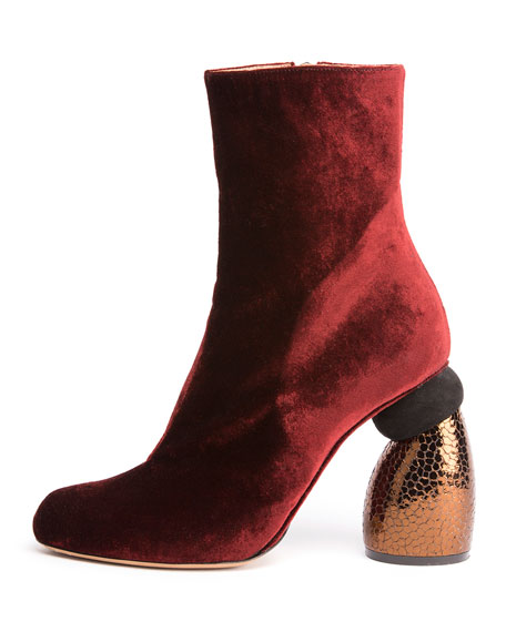 Dries Van Noten Velvet Boot w/Embossed Heel, Bordeaux