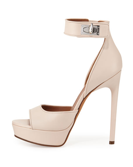 Leather Shark-Lock Sandal, Nude Pink