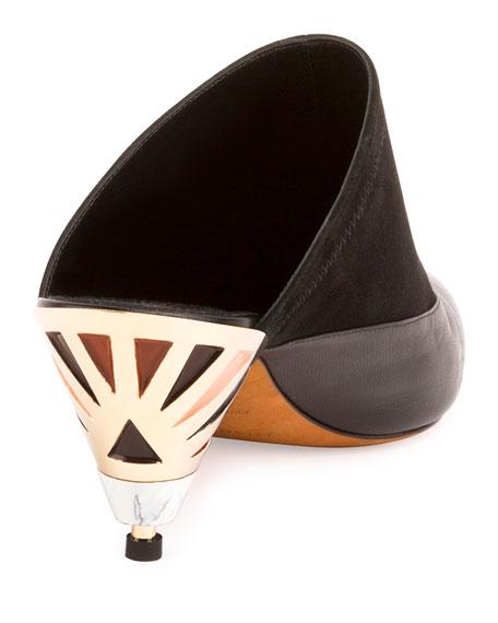 Leather Mule Pump w/Sculpted Heel, Black