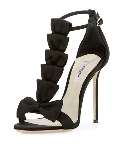 La Délicate Bow T-Strap Sandal, Black