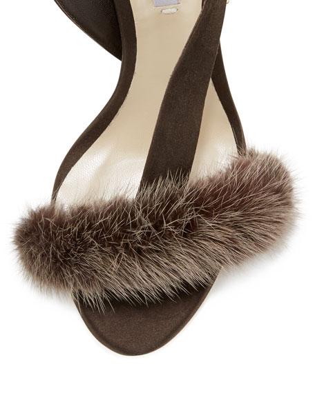 L'Amazone Mink Fur Sandal, Brown