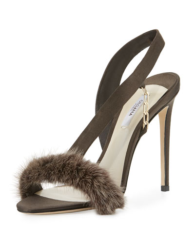 L'Amazone Mink Fur Sandal, Brown