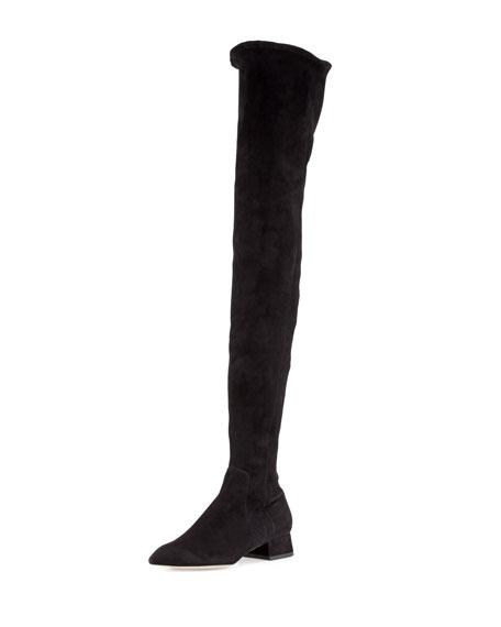 Olgana Paris Officier Suede Over-the-Knee Boot, Black