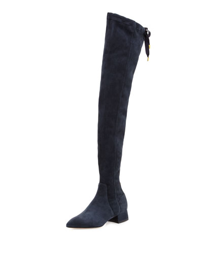 L'Officier Suede Over-the-Knee Boot, Blue