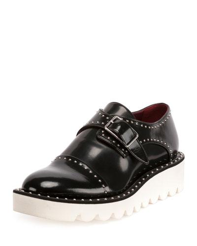 Odette Studded Faux-Leather Oxford, Black