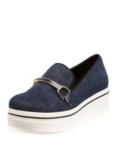 Binx Denim Buckle Loafer, Blue/Navy/Black