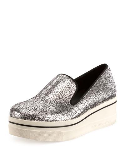 Binx Crackled Metallic Sneaker, Palladio/Black