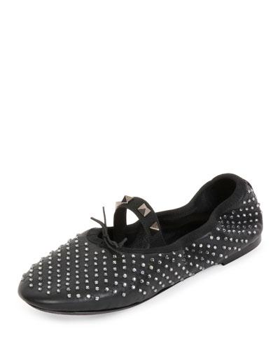 Rockstud Crystal Leather Ballerina Flat, Black (Nero)