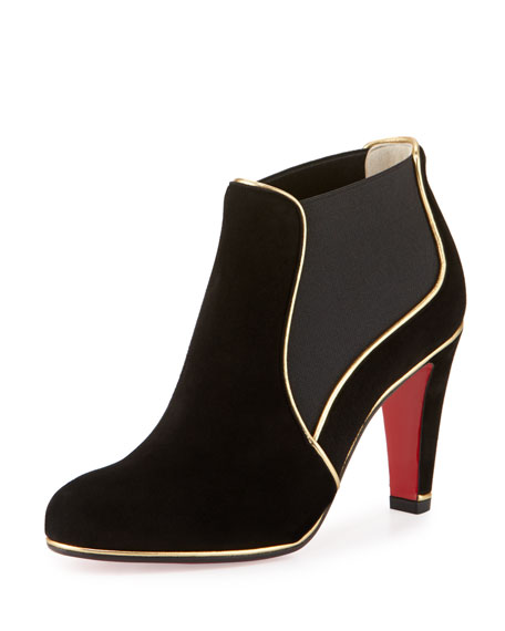 Loulouboot Suede 85mm Red Sole Ankle Boot, Black/Gold