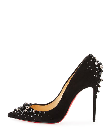 8e022810587 Candidate Pearly-Embellished Suede Red Sole Pump Black