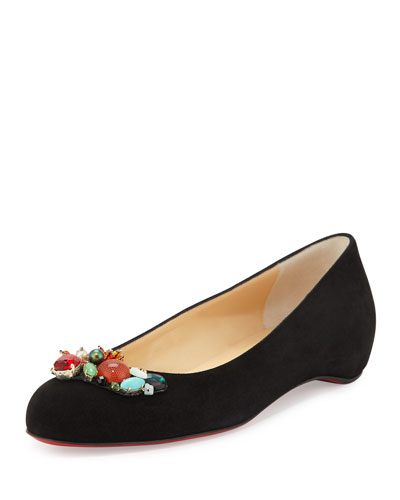 Jeweled Suede Red Sole Skimmer Flat, Black