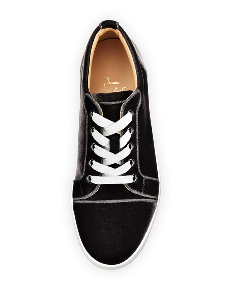 Gondaliere Low-Top Velvet Sneaker, Fusain Gray