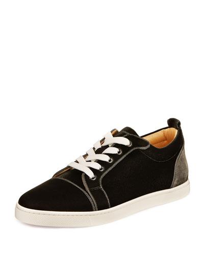 Gondaliere Low-Top Velvet Sneaker, Fusain Gray
