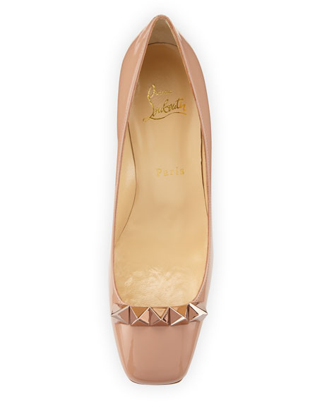 the latest d675d c9a92 Pyramidame Block-Heel Red Sole Pump Nude/Rose Gold