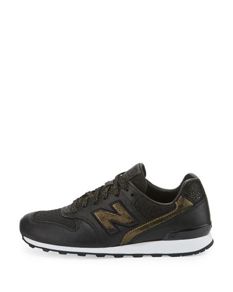 Embossed Leather Sneaker, BlackGold