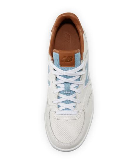Leather Low-Top Sneaker, White/Tan/Denim