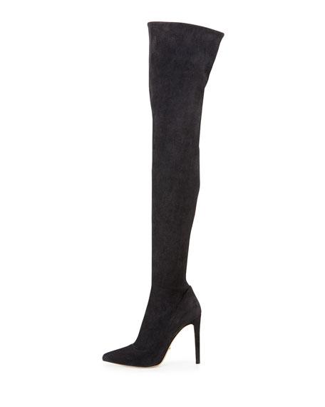 Matrix Stretch-Suede Over-the-Knee Boot, Gray Black (Gris Noir)