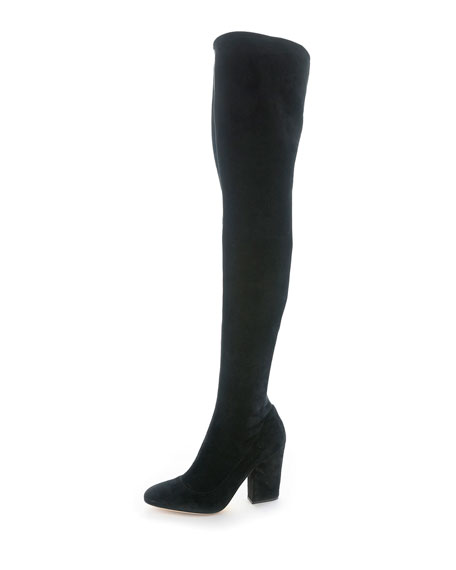 Virginia Stretch-Suede Over-the-Knee Boot, Black