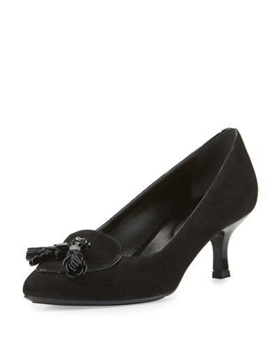 Suede Tassel 50mm Pump, Black