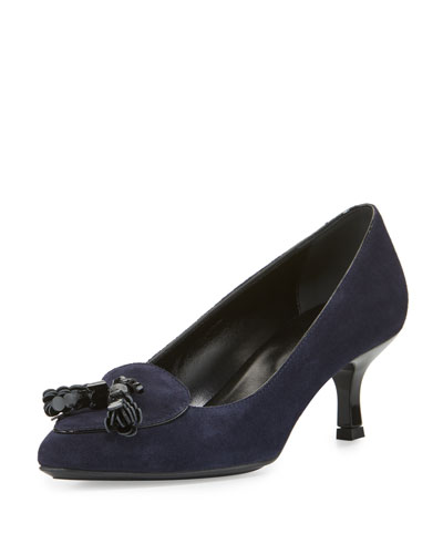 Suede Tassel 50mm Pump, Navy