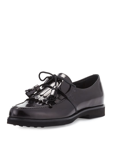 Polished Leather Kiltie Loafer, Black