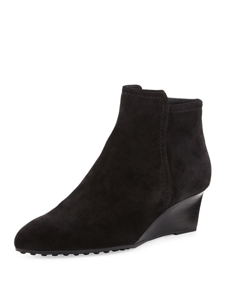Tod's Suede 50mm Wedge Bootie, Black