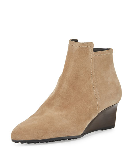 Tod's Suede 50mm Wedge Bootie, Light Stone