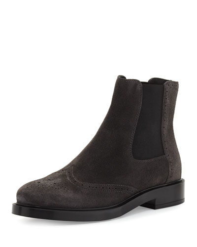 Brogue Suede Chelsea Boot, Gray