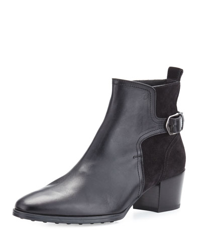 Suede & Leather 50mm Ankle Boot, Black