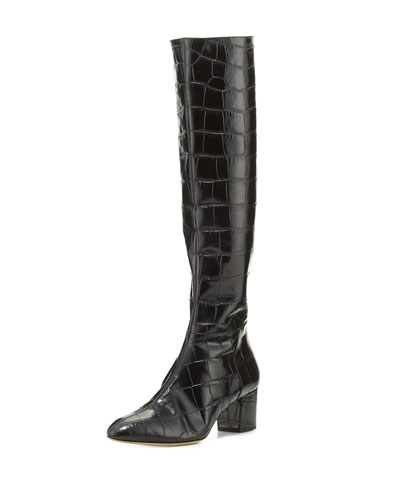 Callie Croc-Embossed Knee Boot, Black