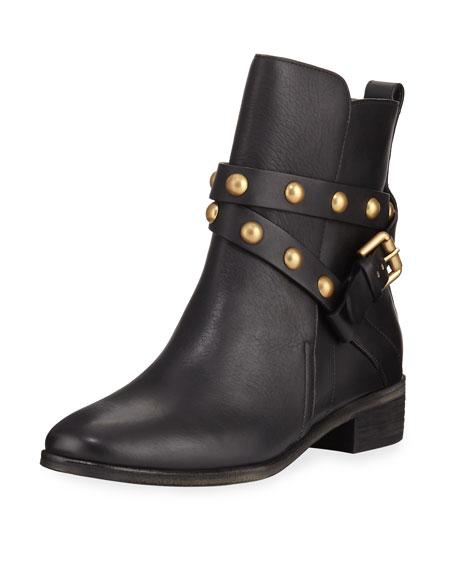 fc786ed315 Janis Leather Flat Bootie Black