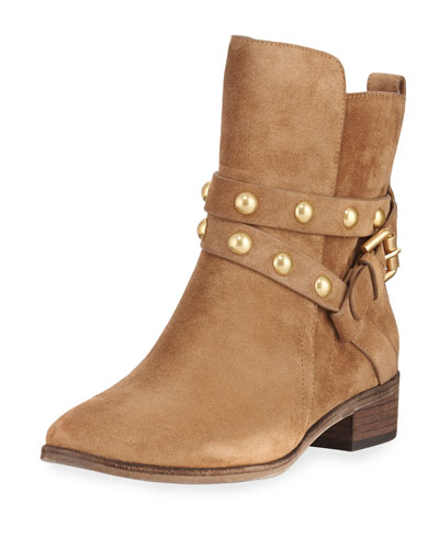 Janis Studded Suede Bootie, Stucco/Sand