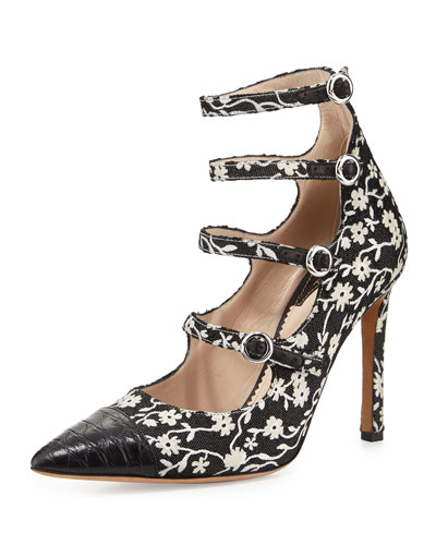 Isabella Floral Cap-Toe Multi-Strap Heel, Black/Natural White