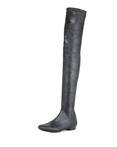 Fetel Suede Over-the-Knee Boot, Black Metallic