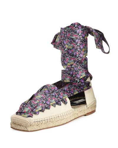 Floral-Print Lace-Up Espadrille, Beige/Black/Violet