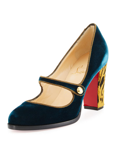 Top Street Red Sole Mary Jane Pump, Lagune