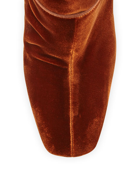 Velvet 100mm Red Sole Ankle Boot, Rust