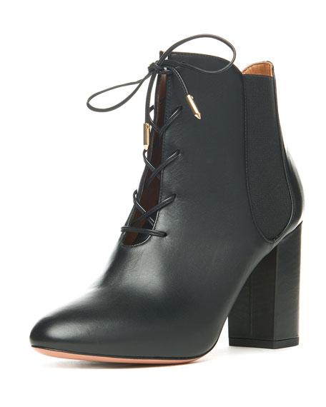 Aquazzura Victoria Leather Lace-Up Boot, Black