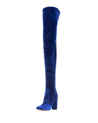 Velvet 105mm Thigh-High Boot, Midnight Blue