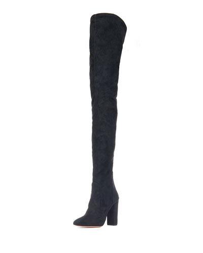 Stretch-Suede Thigh High Boot, Black