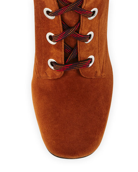 Suede Lace-Up Block-Heel Boot, Palissandro
