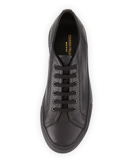 Tournament Low-Top Leather Sneaker, Black