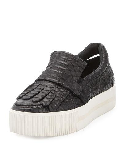 King Embossed Leather Kiltie Sneaker, Black