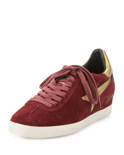 Guepard Suede Hidden-Wedge Sneaker, Barolo/Gold