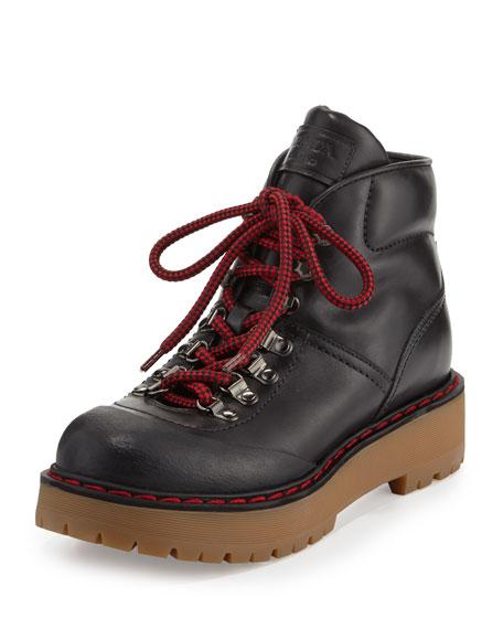 040ea4b1aecd Prada Lace-Up Leather Lug-Sole Hiking Boot