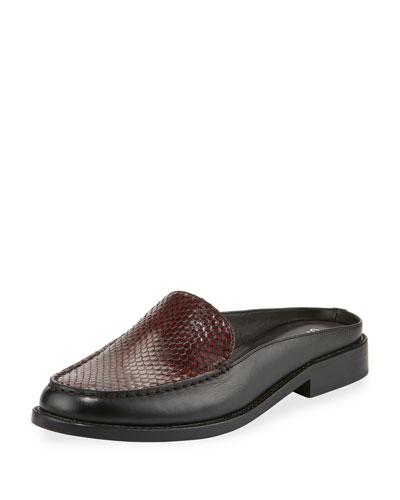 Nebulla Snakeskin & Leather Mule, Black/Plum