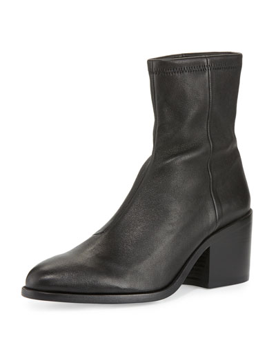 Livv Stretch-Leather Block-Heel Boot, Black