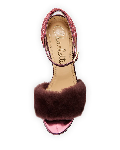 Capella Fur d'Orsay Sandal, Amethyst/Rose Quartz